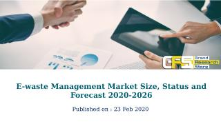 E-waste Management Market Size, Status and Forecast 2020-2026.pptx